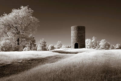 Photograph - Stone Silo Sepia by James Barber