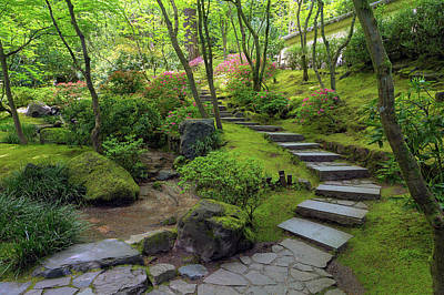 Photograph - Stone Stairs At Portland Japanese Garden by Jit Lim