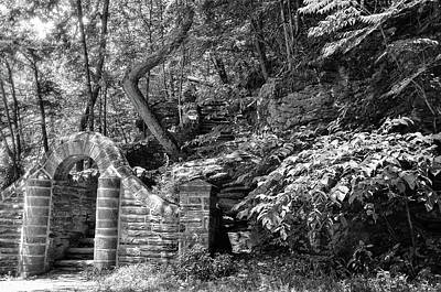 Stone Stairway Along The Wissahickon Creek In Black And White Art Print