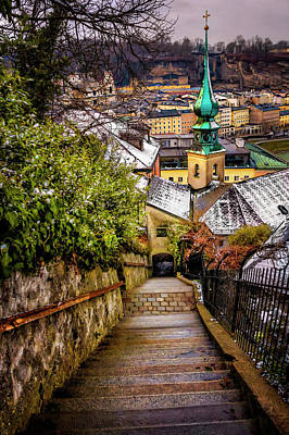 Stone Steps Of Kapuzinerberg Salzburg In Winter Print by Carol Japp
