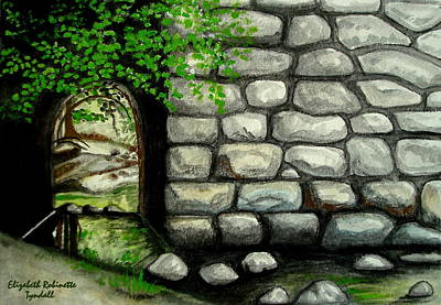 Water Painting - Stone Tunnel by Elizabeth Robinette Tyndall