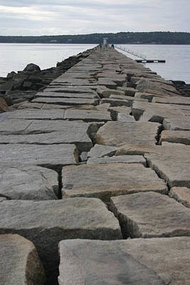 Stone Walk To Light House Art Print by Dennis Curry