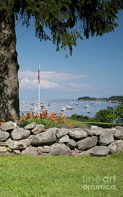 Photograph - Stone Wall And Tenants Harbor, Maine  #8455 by John Bald