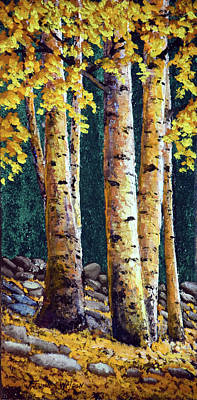 Stone Wall Birch Grove Art Print