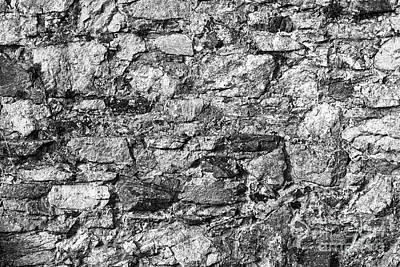 Photograph - Stone Wall In Monochrome by Les Palenik