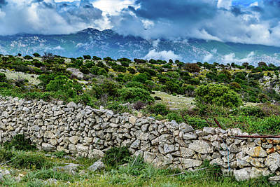 Photograph - Stone Wall, Landscape And Low Clouds Of Rab, Crotia by Global Light Photography - Nicole Leffer