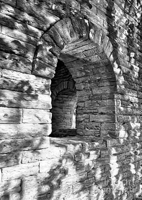 Photograph - Stone Walls At Cincinnati Black And White by Mel Steinhauer