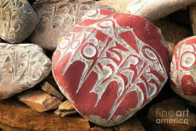 Roadblock Photograph - Stone With Tibetian Mantras Tibet Yantra.lv by Raimond Klavins
