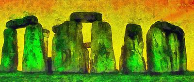Burial Grounds Painting - Stonehenge 200 - Pa by Leonardo Digenio