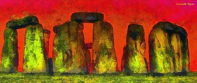 Burial Grounds Painting - Stonehenge 221 - Pa by Leonardo Digenio