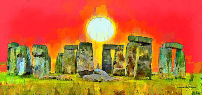 Europe Digital Art - Stonehenge 300 - Da by Leonardo Digenio