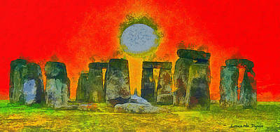 Megalith Digital Art - Stonehenge 301 - Da by Leonardo Digenio