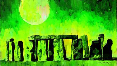 Tree Painting - Stonehenge And Moon 2 - Pa by Leonardo Digenio