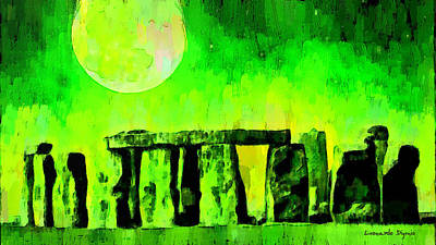 Prehistoric Painting - Stonehenge And Moon 2 - Da by Leonardo Digenio