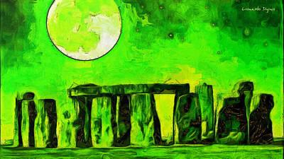Ground Digital Art - Stonehenge And Moon - Pa by Leonardo Digenio