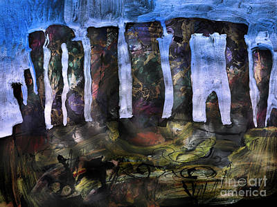 Megalith Painting - Stonehenge At Sunset  by Elizabetha Fox