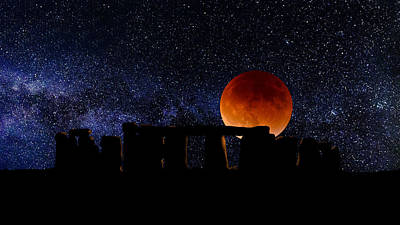 Digital Art - Stonehenge Blood Moon by Roger Lighterness