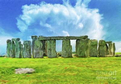 Monument Circle Painting - Stonehenge By Sarah Kirk by Sarah Kirk