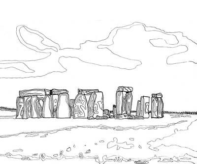 Mystical Landscape Painting - Stonehenge by Diane Marcotte