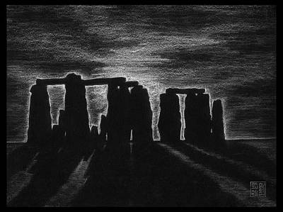 Drawing - Stonehenge In Black And White by Geoffrey C Lewis