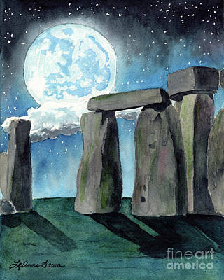 Painting - Stonehenge Moon by LeAnne Sowa