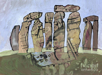 Megalith Drawing - Stonehenge One Tempera Painting by Elizabetha Fox