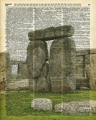 Stonehenge Over Dictionary Page Art Print by Jacob Kuch