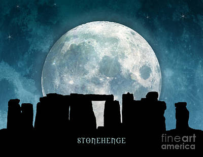 Print featuring the digital art Stonehenge by Phil Perkins