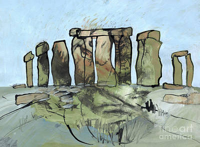 Megalith Drawing - Stonehenge Two Tempera Painting by Elizabetha Fox