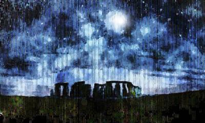 Digital Art - Stonehenge Under Night Skies by Mario Carini