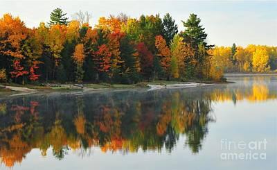 Stoneledge Lake Autumn Lakefront Print by Terri Gostola