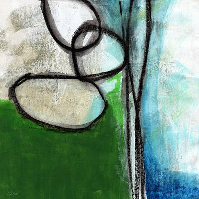 Living Room Art Painting - Stones- Green And Blue Abstract by Linda Woods