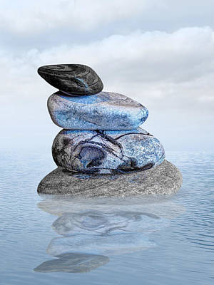 Stones In Water Art Print by Gill Billington
