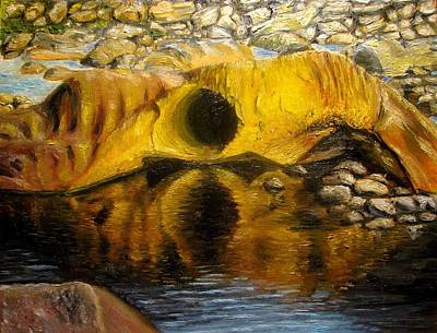Stones Ocoee River In Tennessee Landscape Original Oil Paintings Art Print by Natalja Picugina