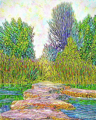 Digital Art - Stones Over Water - Colorado Lake In Boulder County Park by Joel Bruce Wallach