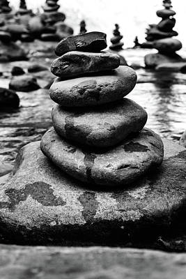 Stones Pyramid In Black And White  Art Print