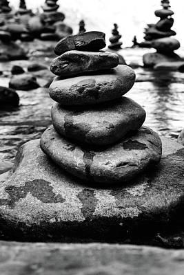 Balance In Life Photograph - Stones Pyramid In Black And White  by Evgeniya Lystsova