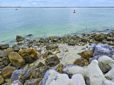 Stones Sand Water And Boats Print by Deborah Benoit