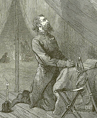Night Scenes Drawing - Stonewall Jackson Praying Before The Battle by English School
