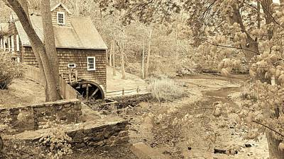 Photograph - Stony Brook Grist Mill Two Sepia by Rob Hans