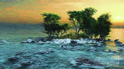 Digital Art - Stony Little Island by Jutta Maria Pusl