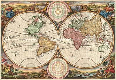 1730 Painting - Stoopendaal 1730 World Map by Stoopendaal