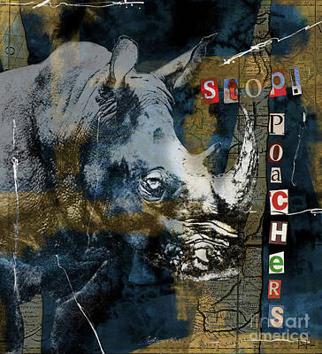 Digital Art - Stop Rhino Poachers Wildlife Conservation Art by Nola Lee Kelsey