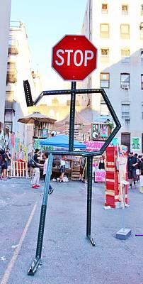 Photograph - Stop Sign Person by Karen Silvestri
