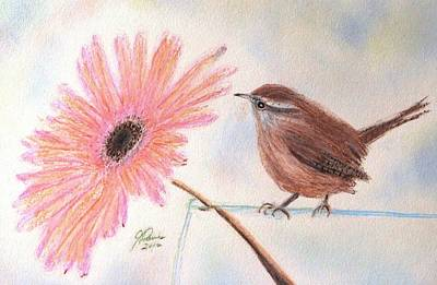 Gerbera Drawing - Stopping By To Say Hello by Angela Davies