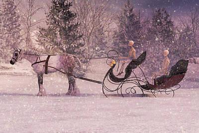 Draft Horses Digital Art - Stopping By Woods by Betsy Knapp