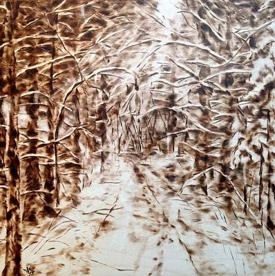 Woodburning Pyrography - Stopping By Woods On A Snowy Evening by Victoria General