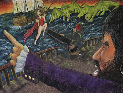 Drawing - Stopping The Pirate by Larry Whitler