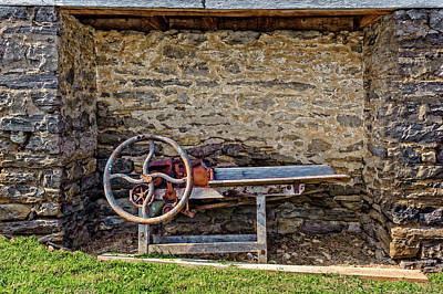 Photograph - Storage Cove On An 1803 Amish Corn Barn  -  1800scornshellingmachine172835 by Frank J Benz