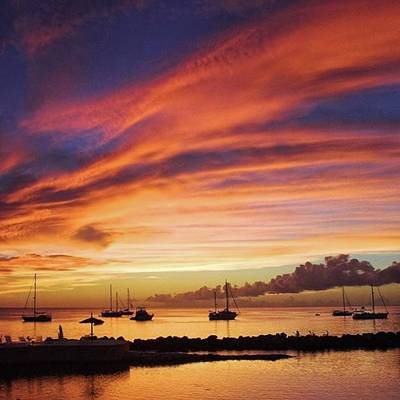 Sunset Photograph - Store Bay, Tobago At Sunset #view by John Edwards